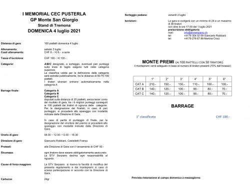 1° MEMORIAL CEC PUSTERLA – 4 Luglio 2021